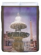Vatican City Fountain Duvet Cover