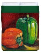 Vegetable Still Life Green And Orange Pepper Grace Venditti Montreal Art Duvet Cover