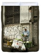 Vegetable Vendor Havana Cuba Duvet Cover