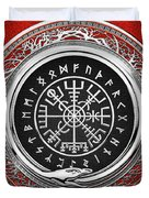 Vegvisir - A Silver Magic Viking Runic Compass On Red Leather  Duvet Cover