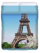 Eiffel Tower And Spring Duvet Cover