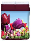 Velvet Red And Purple Tulip Flowers Closeup Duvet Cover