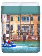 Venice Boat Under The Rain Duvet Cover