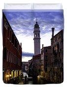 Venice Canal At Dusk Duvet Cover