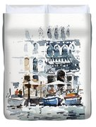 Venice Canal With Barges Duvet Cover