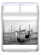Venice. Gondola. Black And White. Duvet Cover