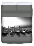 Venice Gondolas Black And White Duvet Cover