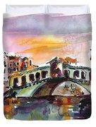Venice Italy Silence Rialto Bridge Duvet Cover