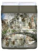 Venice Italy Digital Watercolor On Photograph Duvet Cover