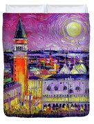 Venice Night View Modern Textural Impressionist Stylized Cityscape Duvet Cover