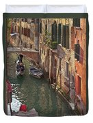 Venice Ride With Gondola Duvet Cover