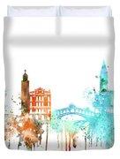 Venice Watercolor Skyline Duvet Cover