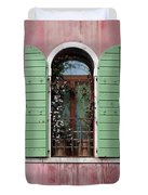 Venice Window In Pink And Green Duvet Cover