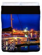 Ventura Harbor At Night Duvet Cover