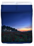 Venus And Moon Over Spring Poppies Duvet Cover