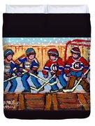 Verdun Hockey Rink Paintings Edmonton Oilers Vs Hometown Habs Quebec Hockey Art Carole Spandau       Duvet Cover