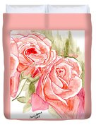 Vermilion Pink Roses Duvet Cover