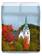 Vermont Church In Autumn Duvet Cover by Catherine Sherman