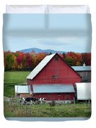 Vermont Cows At The Barn Duvet Cover