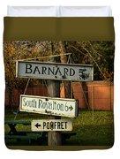 Vermont Crossroads Signs Duvet Cover