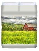 Vermont Farm Landscape Pencil Duvet Cover