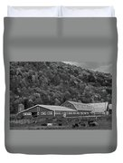Vermont Farm With Cows Autumn Fall Black And White Duvet Cover