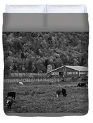 Vermont Farm With Cows Black And White Duvet Cover