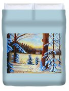 Vermont Log Cabin Maple Syrup Time Duvet Cover