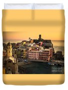 Vernazza At Sunset Duvet Cover