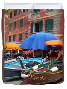 Vernazza Boats Duvet Cover