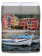 Vernazza Fishing Boats Duvet Cover