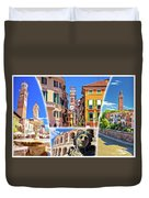 Verona Colorful Tourist Landmarks Postcard  Duvet Cover