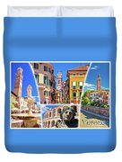 Verona Tourist Landmarks Postcard With Label Duvet Cover