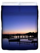 Vertical Pre-dawn Stillness At The Marina 13670 Duvet Cover