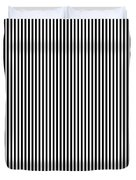 Vertical Stripes In Black And White Duvet Cover