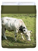 Very Muscled Cow In Green Field Duvet Cover