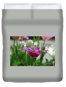 Very Pretty Blooming Purple Tulip With Spikey Petals Duvet Cover