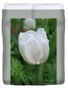 Very Pretty Blooming White Tulip In A Garden Duvet Cover
