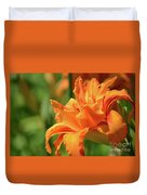 Very Pretty Double Orange Daylily Flowering In A Garden Duvet Cover