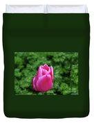 Very Pretty Garden With A Dark Pink Tulip Duvet Cover