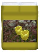 Very Pretty Pair Of Flowering Yellow Tulip Blossoms Duvet Cover