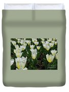 Very Pretty Spring Garden With Flowering White Tulips Duvet Cover