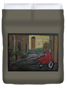 Vespa In The Rain Duvet Cover by Richard Le Page