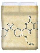 Viagra Molecular Structure Vintage Duvet Cover by Nikki Marie Smith