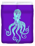 Vibrant Blue Octopus Beach House Coastal Art Duvet Cover