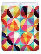 Vibrant Geometric Abstract Triangles Circles Squares Duvet Cover