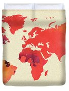 Vibrant Hot Watercolor World Map Duvet Cover