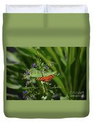 Vibrant Oak Tiger Butterfly Surrounded By Blue Flowers Duvet Cover