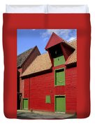 Vibrant Red And Green Building Duvet Cover