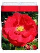Vibrant Red Rose Duvet Cover